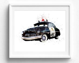 Sheriff Print, Disney Cars, Nursery Wall Art, Disney Pixar Cars, Nursery Decor, Disney Cars Art Print, Disney Print, Disney Watercolor