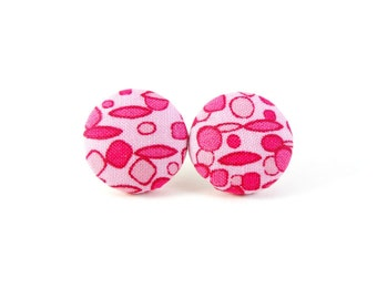 Pink Earrings, Studs, Fabric Earrings, Button Earrings, Fabric Covered Posts, Post Earrings, Handmade