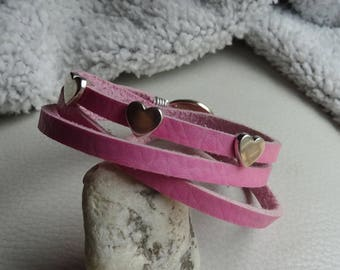 Pink fine leather bracelet 3 wraps decorated with hearts