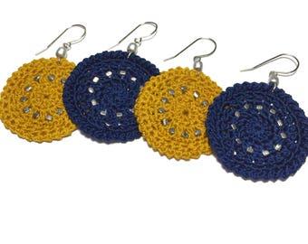 Crochet Silver Bead Disk Earrings
