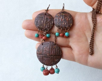 Egyptian symbols pendant earrings set rustic necklace pendant set jewelry gift handcrafted earrings boho necklace gift for her