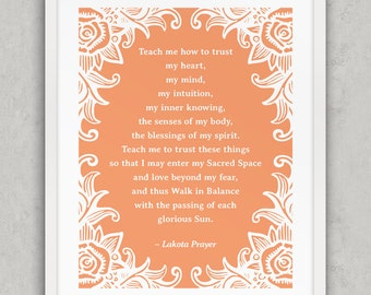 Prayer Art, Lakota Prayer print, Peach Rose art, Native American Prayer, Folk Wall Art, Prayer print, Printable Art
