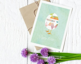 Easter egg card / funny Easter card / Happy Easter card egg / illustrated Easter egg card / handmade card / illustrated egg with chick feet