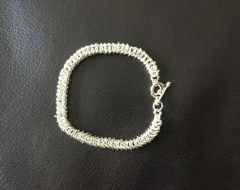 Silver chain maille bracelet 18cm