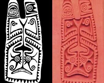 New Guinea Maori Tribal Shield Design Stamp for Clay PMC Textiles and Scrap Booking - Maori Pendant Design Stamp Tool - Tribal Shield Stamp