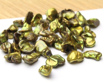 Gold Freshwater Keshi Pearls 8-12mm 12pcs