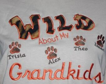 Grandparents tshirt - Wild about my grandkids embroidered tshirt - custom grandma t-shirt