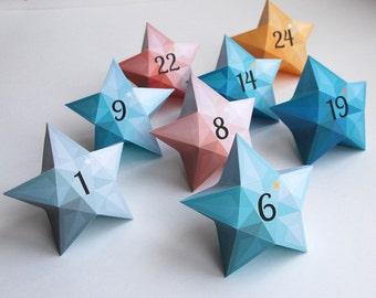 Advent calendar, printable Christmas calendar, christmas advent, 24 star gift box for Christmas countdown, Blue & Coral printable calendar