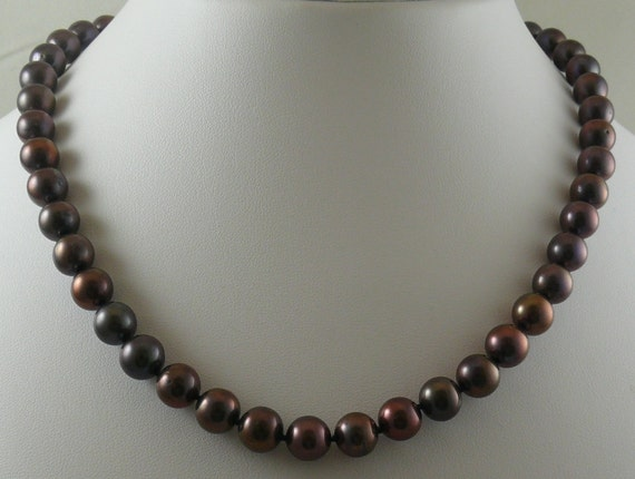 """Freshwater Black 9 mm - 9.5 mm Pearl Necklace 14k White Gold Clasp 18 1/4"""""""