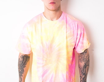 Pink Yellow Swirl Spiral Tie Dye T-Shirt Mens [24] - LIMITED STOCK - Exclusive - Great Quality Festival Music