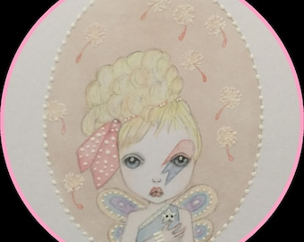 Original art 1980s Bowie vibe fairy lowbrow fantasy art