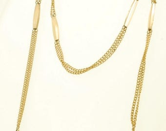 """13.5"""" yellow gold filled multi-strand fancy design straight style vintage pocket watch chain"""