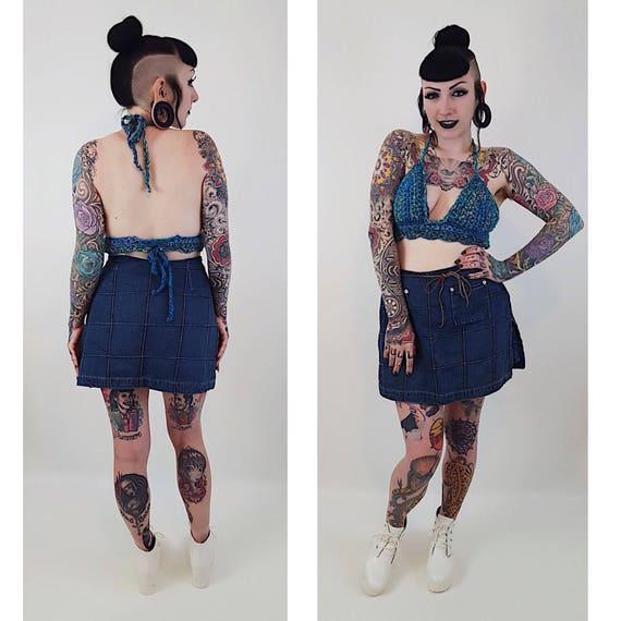 90s Vintage Denim Blue Jean Mini Skort Medium Large Miniskirt Shorts - 1990s Fashion Shorts Under Mini Skirt - Classic Basic Neutral Grunge