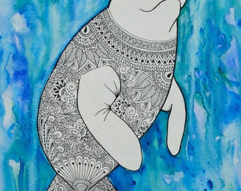 ON SALE! Original 8x10 watercolor and pen artwork of a manatee, entitled: Happy Manatee