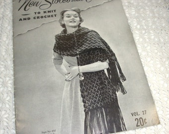 New Stoles and Cover Ups to Knit and Crochet, Mid Century Patterns, Hairpin Lace Stole, Triangle Shawl, Stole of Daisies, 1952  (772-15)