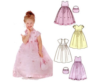 Girls Formal Dress Pattern Flower Girl Gown, Bolero Jacket and Purse Simplicity 5638 Size 3 4 5 6 Girls Full Skirt Dress Sewing Pattern