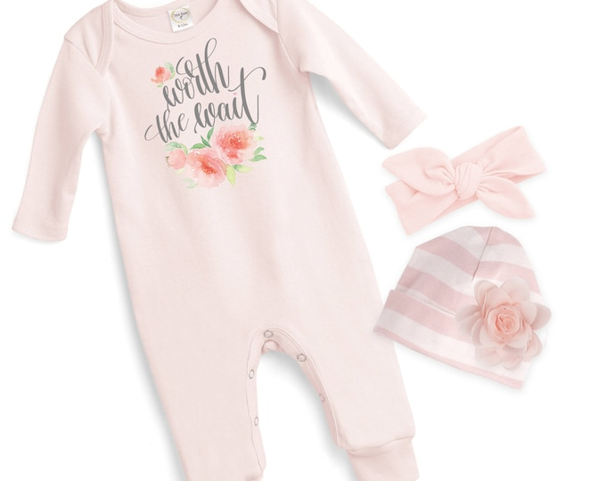 Baby Girl Coming Home Romper Pink, Newborn Girl Take Home Romper, Worth the Wait Baby Bodysuit, Pink Long Sleeve Romper, TesaBabe