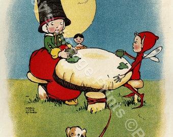 Housekeeping in Fairyland Mabel Lucie Attwell Vintage Art Print