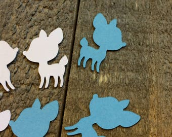Blue And White Baby Deer Fawn Shower Table Confetti Gender Reveal Table Scatter Decor Decoration Baby Boy Woodland Theme C118