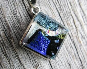 multi blue vibrant pendant, fused glass pendant, dichroic fused glass, dichroic jewelry, square pendant, vibrant colors, great accessory