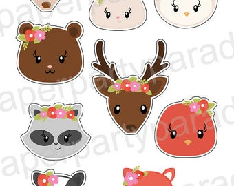 DIY Printable Cupcake Toppers - Sweet Woodland Creatures Party- Woodland Baby Shower - Woodland Birthday Party -  Birthday Party-  9 Images