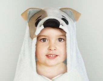 Hooded Towel / Bulldog / Dog / Puppy / Hooded Bath Towel / Animal Hooded Towel / Personalized / Baby Gift / Baby / Toddler