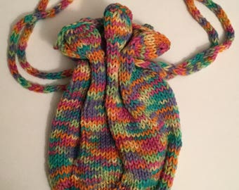 Knit Hobo Tote , Bright Pastel
