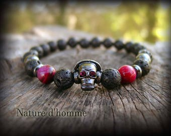 Jewelry woman - Bracelet in lava, hematite, Tiger eye and skull Ref: BN-388