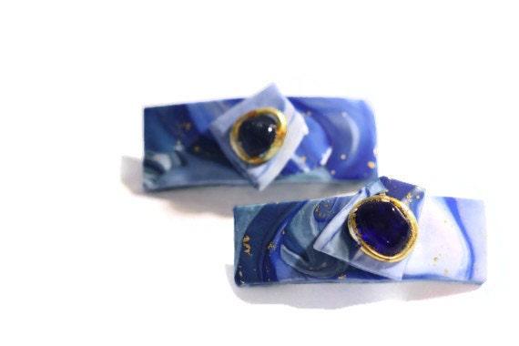 Barrettes Hair Barrettes Hair Clips Summer Blue Sea Glass Barrettes, Mini Barrettes, Sea Glass, Indigo Blue Mini Barrettes Side Bang Clips