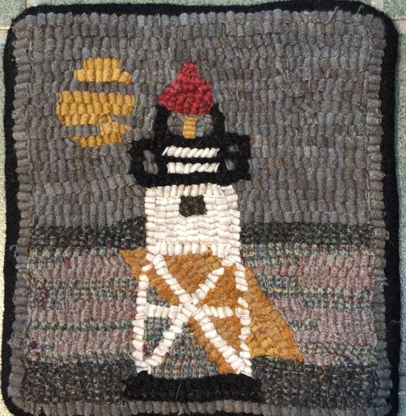 "Rug Hooking Pattern, GM Lighthouse Mat, 8"" x 8""  P148"