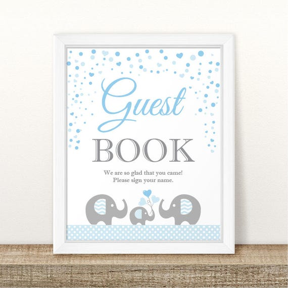 Printable Elephant Baby Shower Guest Book Sign, Baby Shower Guest Book  Sign, Grey Light Blue Guest Book Sign, Elephant Guest Book Sign