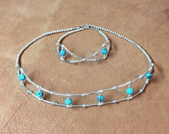Silver & Turquoise Necklace and Bracelet