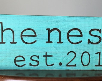 The Nest with est. year Wood Sign, The Nest Sign, The Nest Handpainted Wood Sign The Nest Anniversary sign, The Nest Wedding Gift
