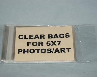Clear Bags Resealable Bags - Crystal Clear for 5 x 7 Photos/Art