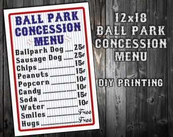 concession menu template
