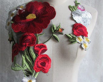Appliques - Floral Appliques Colorful Flower Patches.Embroideried Flower Applique,Sew On Appliques