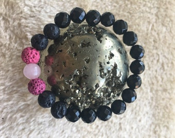 Diffuser onyx , rose quartz and lava beads bracelet