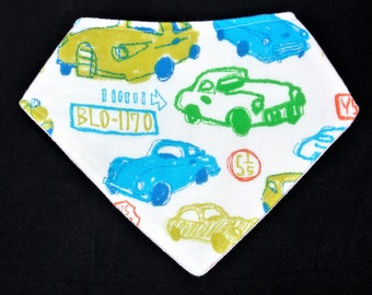 Bandana bib-cars(Japanese double gauze)/drool bib/Baby shower gift/baby boy/Baby accessory