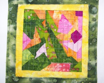 Mug Rug Coaster or Mini Quilt Scrappy  Bright Green, Pink and Yellow