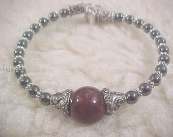 Bloodstone & Hematite Protection Bracelet - Old Witchcraft Magick - Wiccan Pagan Witch Amulet Talisman