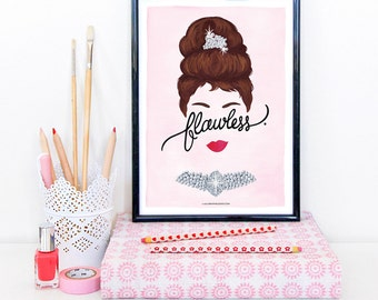 Flawless Audrey Hepburn Poster, Calligraphy Print, Minimalist Illustration, Music Art Print, Typography Print, Queen B Gift for Her