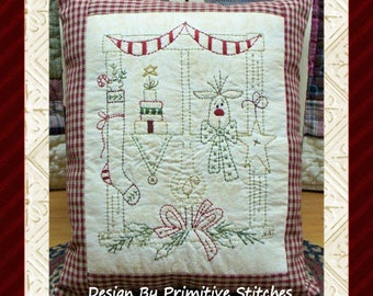 Christmas Window 1--Primitive Stitchery E-PATTERN by Primitive Stitches-Instant Download