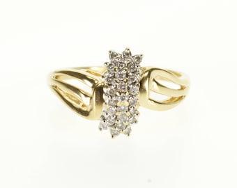 14k Diamond Encrusted Cluster Wavy Curvy Design Ring Gold