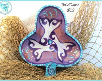 "Whale Tails Triskelon Trinket Tray, Decorative Art, OOAK Wood Bowl, ""Fluke Dance "" (TB1608) in Aqua, Purple, Silver"