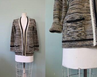 Biscotti cardigan sweater   vintage 1970s marled knit cardigan