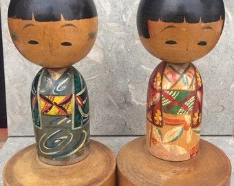 PAIR Vintage Kokeshi Doll on Stand BOY GIRL Japanese Japan Folk Art