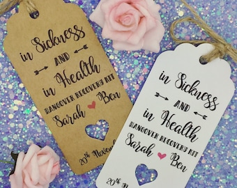 HANGOVER KIT Gift Tags, Wedding ALCOHOL Favour, Bottle Guest Label