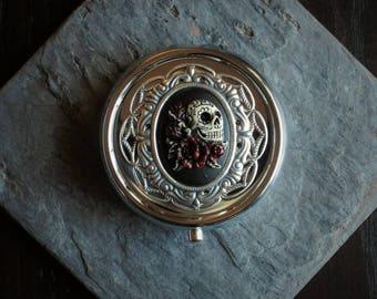 Sugar skull silver cameo pill box container, silver pill box, day of the dead, skeleton pill box, bridesmaid gift, holiday gift ideas