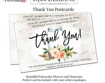 Thank You Postcard, Thank you Tags, Swing Tags, Package Inserts, Mason Jar Branding, Logo Tags, Logo Hang Tags, Hang Tag Template