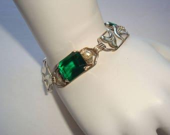 Sterling and Emerald Green Rhinestone Link Bracelet